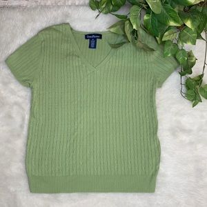 EVAN PICONE Olive Cable Knit Short Sleeve Sweater